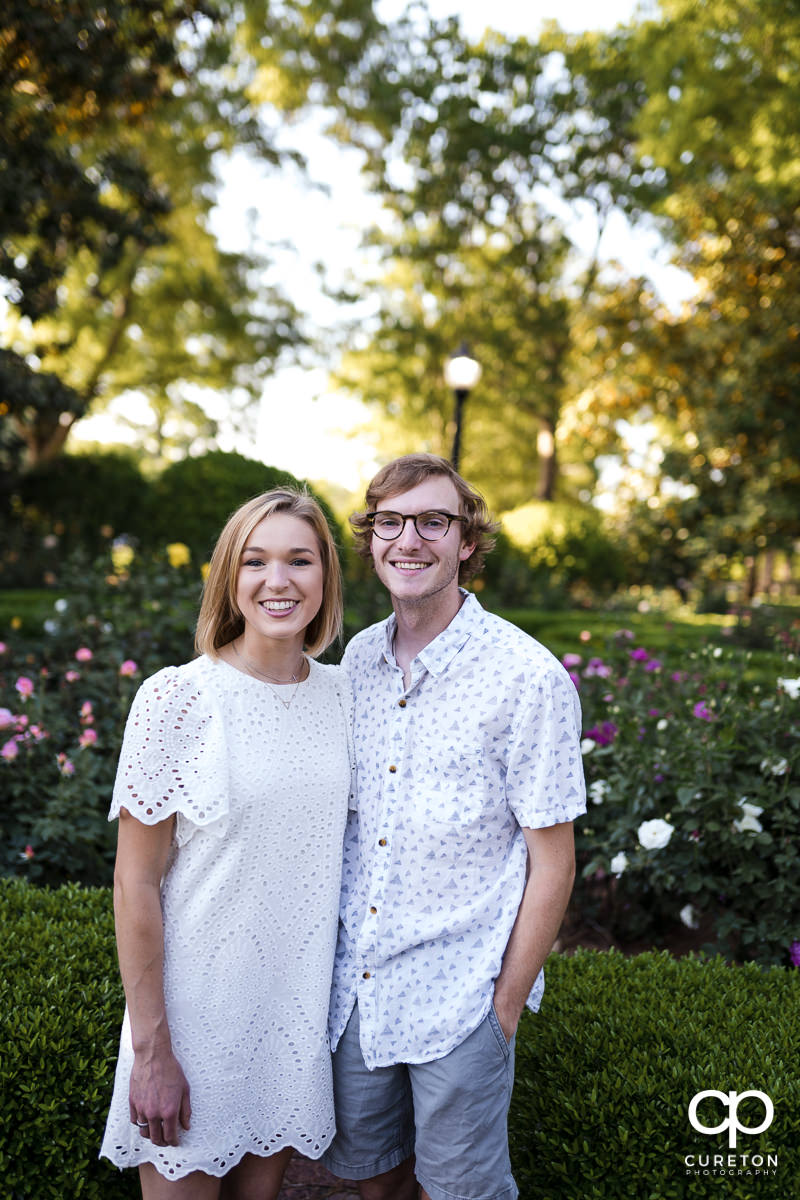 Engaged couple at Furman University.