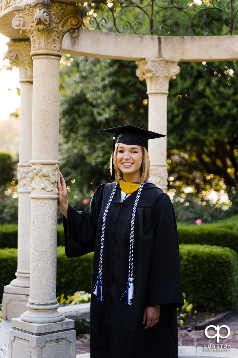 Furman graduate in the rose garden.