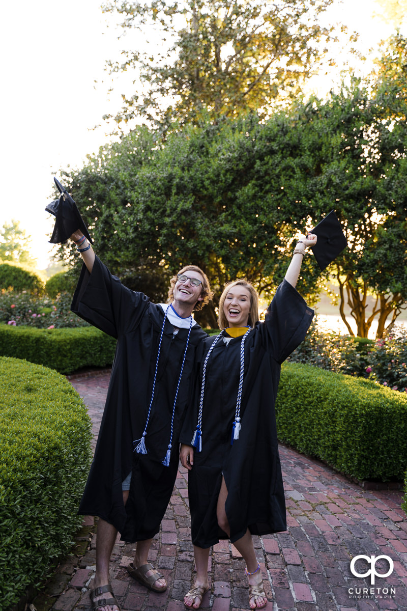 Two Furman students happy to graduate.