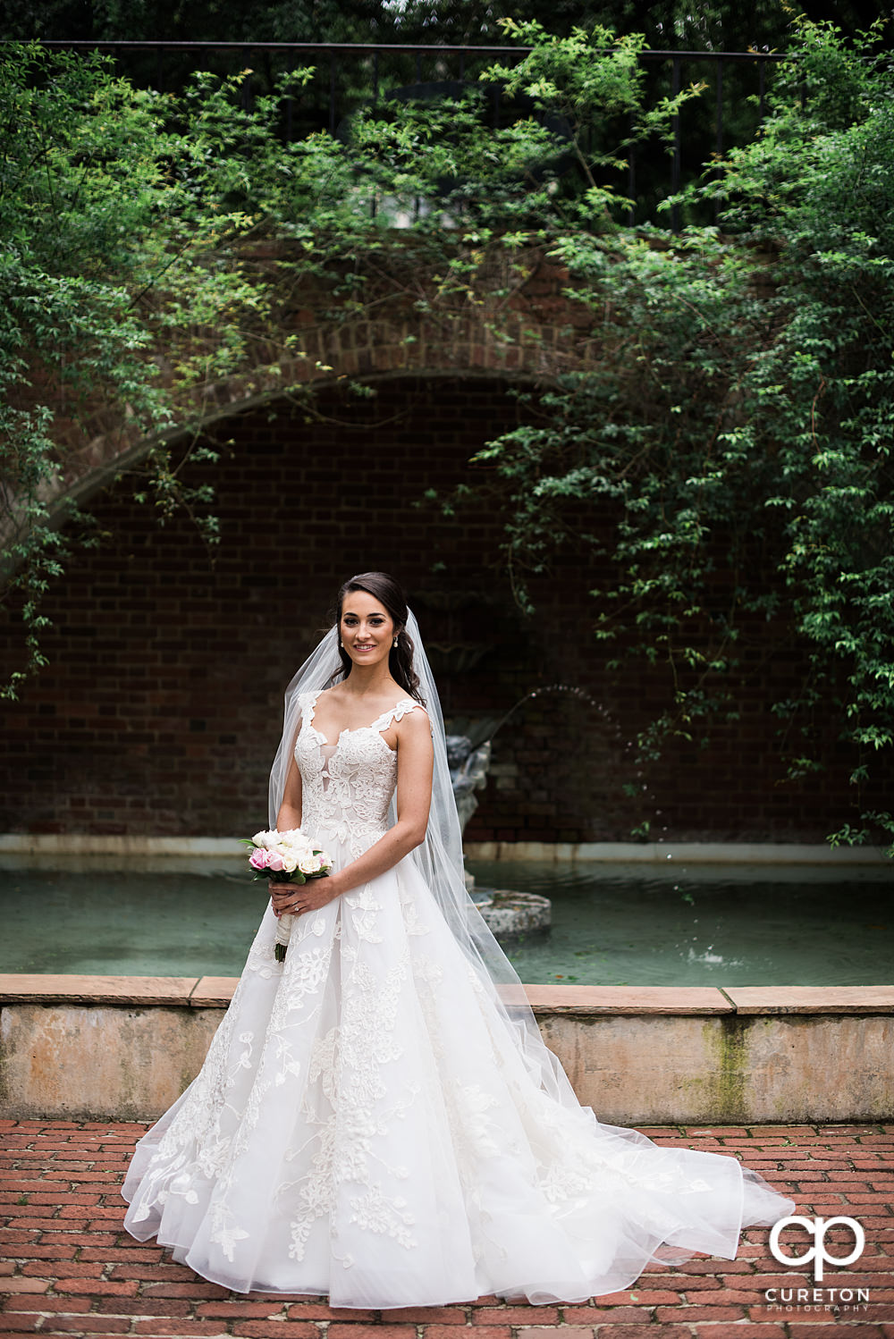 Traditional bridal portrait in Greenville SC on the Furman campus.