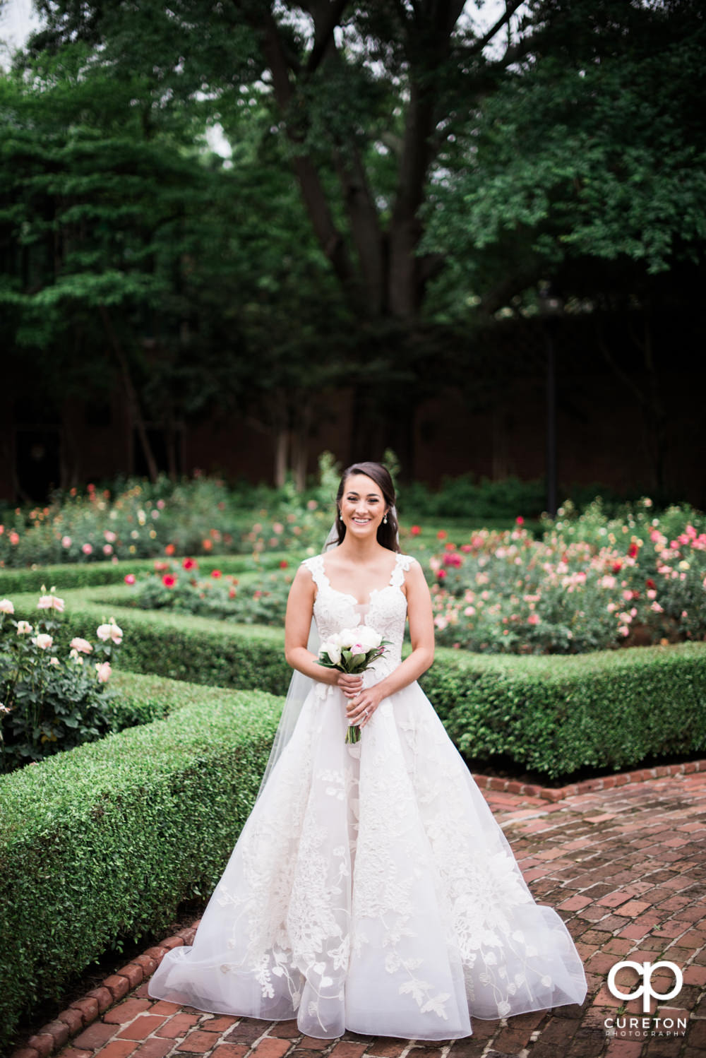 Bride standing in the middle of a rose garden.