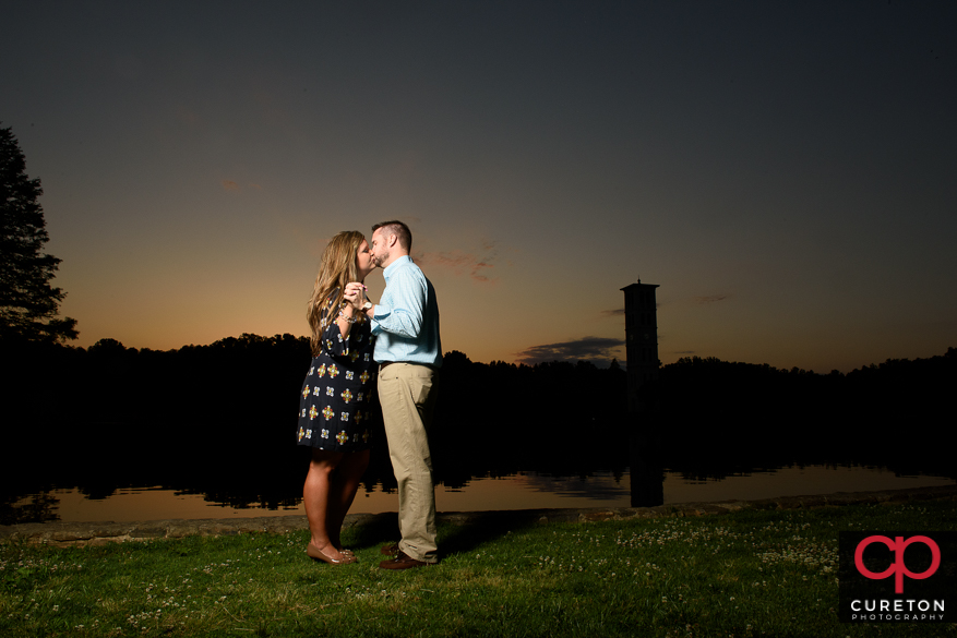 Sunset by the lake during a Furman University engagement session