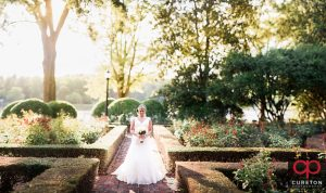 Bride standing in the rose garden during her Furman University bridal session.