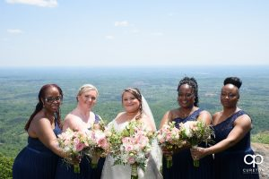 Bridesmaids on a mountain.