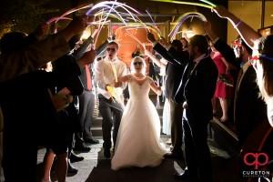 Glow stick wedding exit.