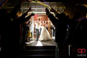 Bride and groom's glow stick leave at Zen.