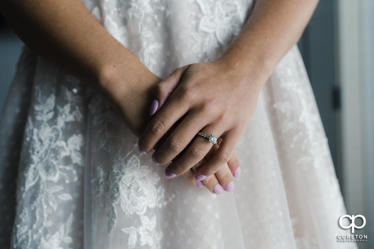 Bride's ring close up.