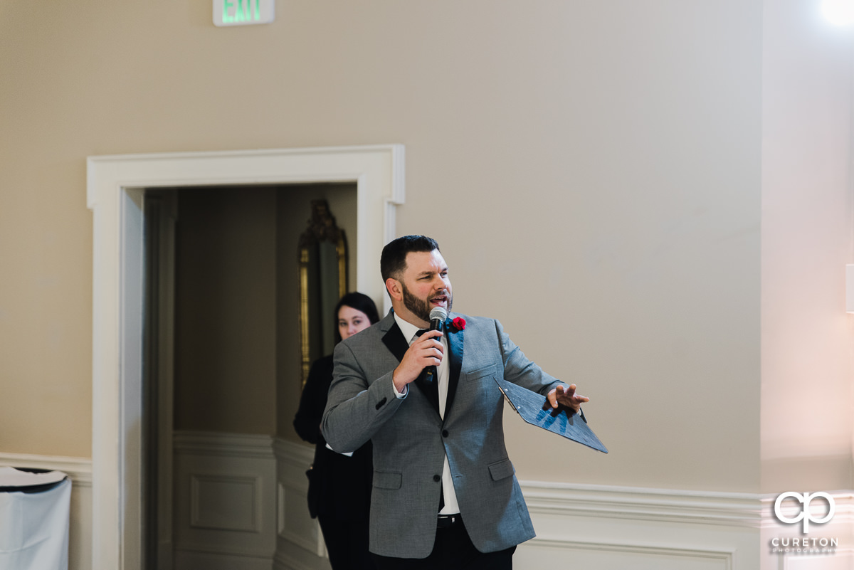 Dj Justin Reid introducing the wedding party.