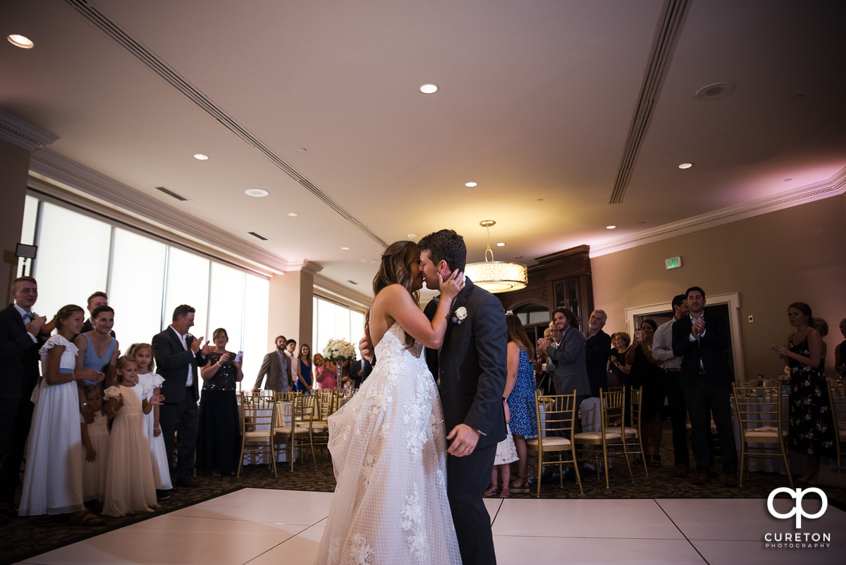 Bride and groom sharing a first dance at the Commerce Club wedding reception in Greenville,SC.
