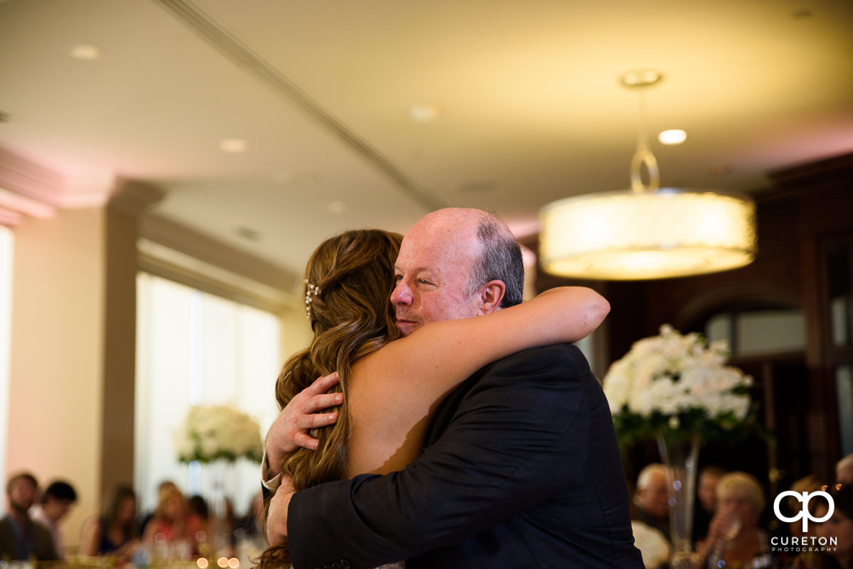 Father hugging the bride.