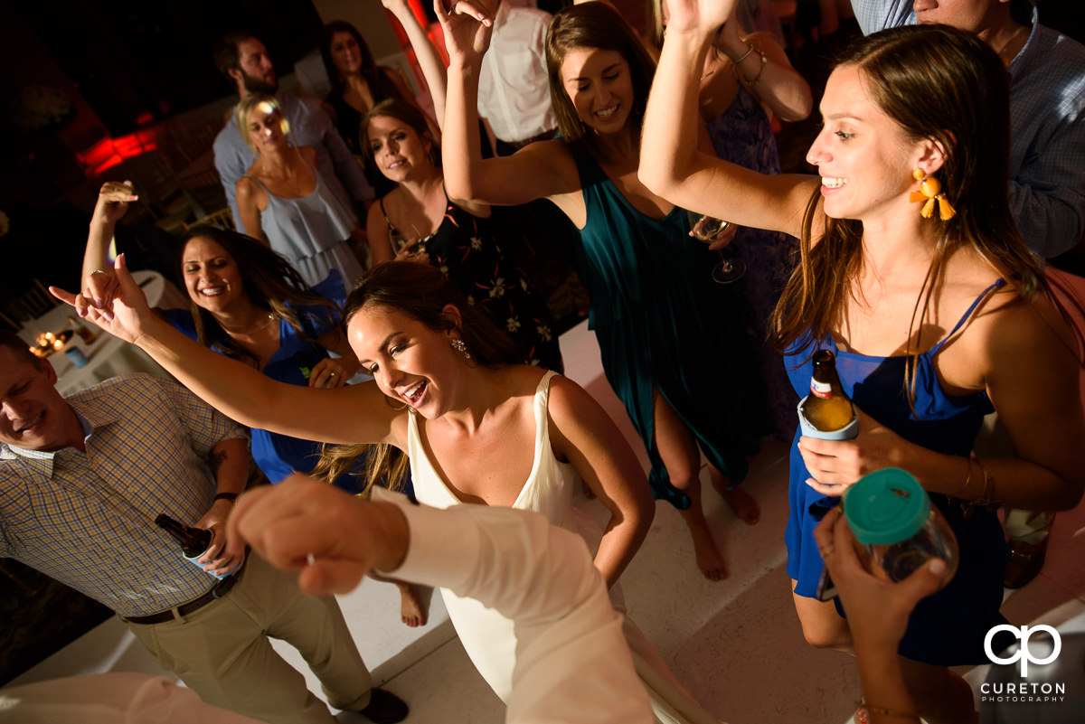 Guests dancing at a Commerce Club wedding reception to the sounds of Greenville wedding DJ Uptown Entertainment.