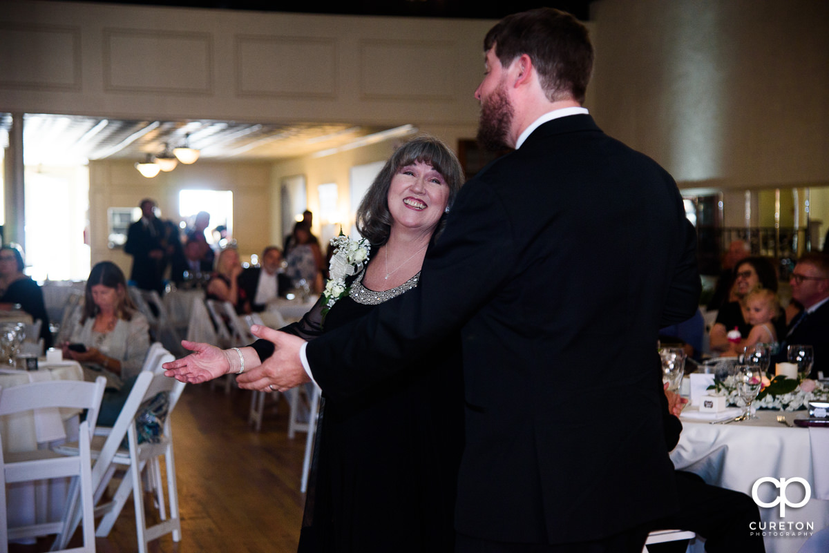 Groom dancing with his mother at the Grace Hall wedding reception in downtown Greer,SC.