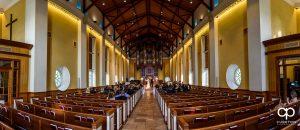 Daniel Chapel Wedding Ceremony panoramic view.