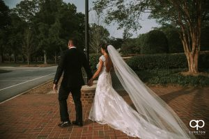 Bride and groom leaving the chapel.