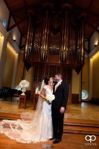 Bride and groom at Daniel Chapel.