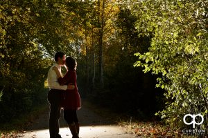 Epic shot of a future bride and groom during their engagement session at Greenbrier Farms.