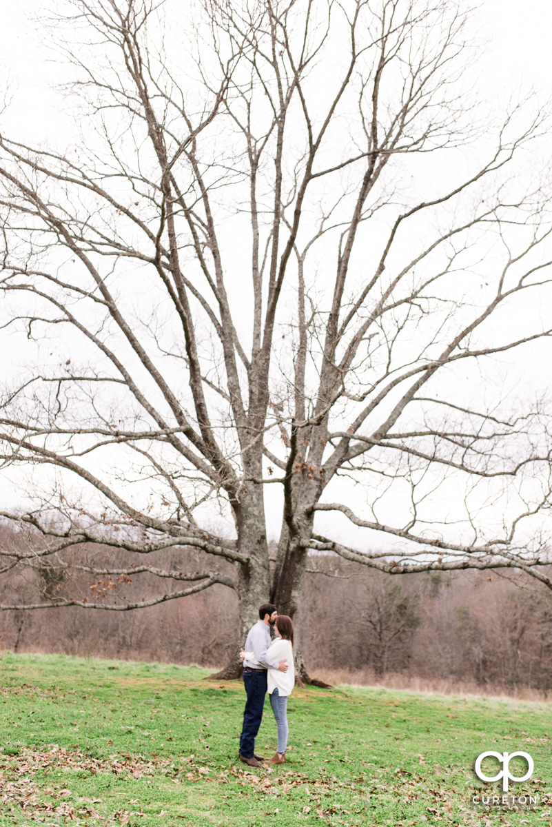 Man kissing his bride on the forehead in front of a huge tree.
