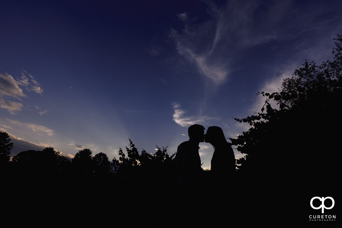 Silhouette of a bride and groom kissing in front of a purple sky.