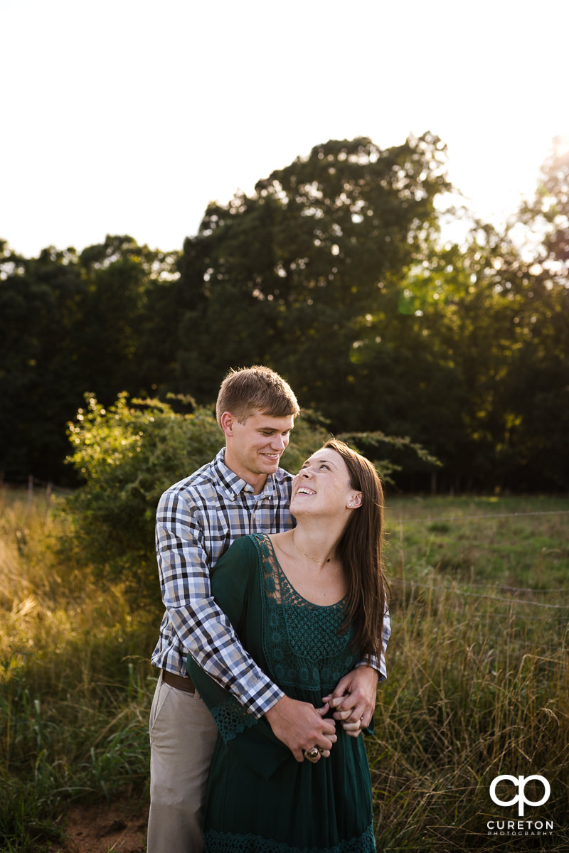 Engaged couple at Greenbrier Farms.