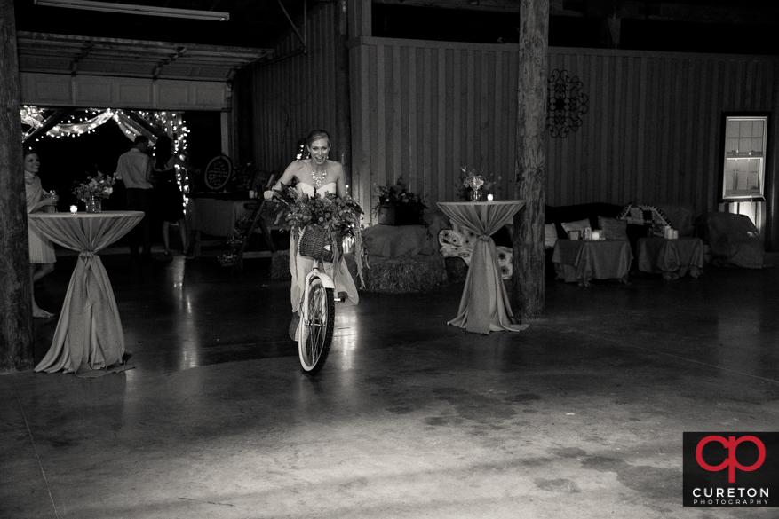 Wedding guests having fun at the reception.