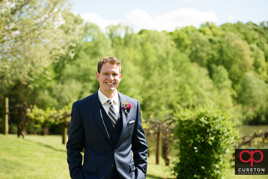 Groom awaiting the first look.