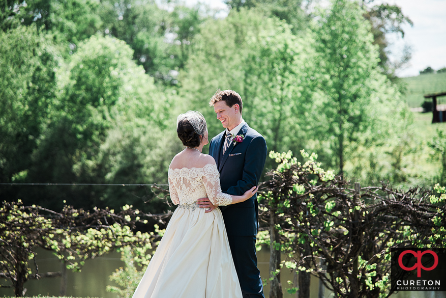 First look before Greenbrier Farms wedding.