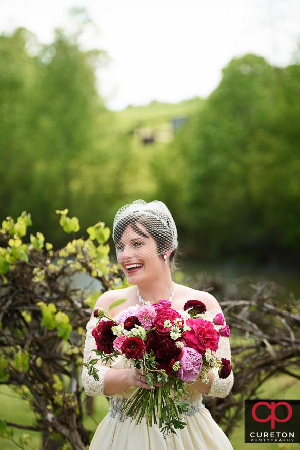 Bride before her rustic farm wedding near Greenville,SC.