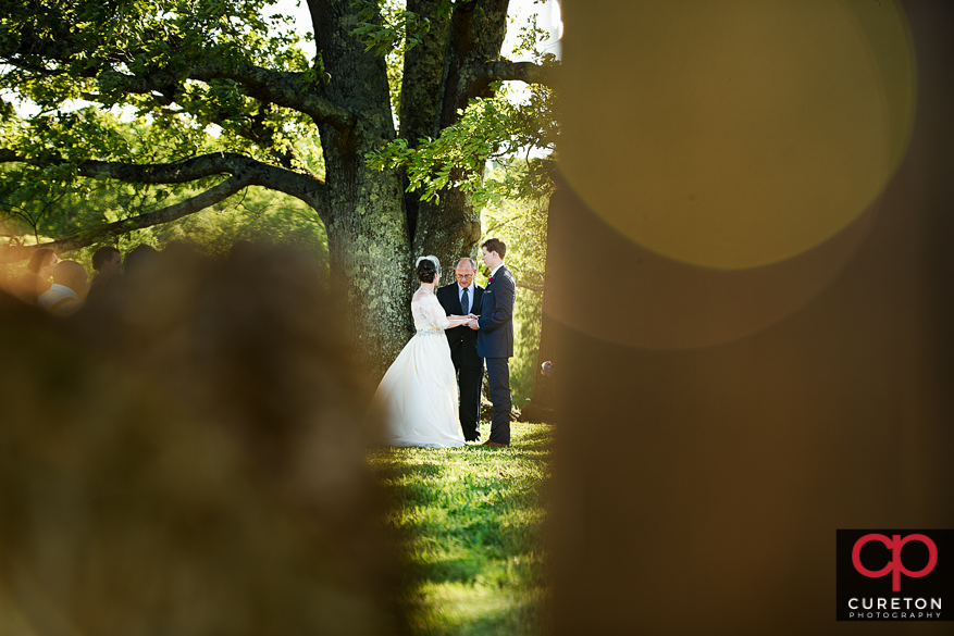 Creative view of teh farm wedding.