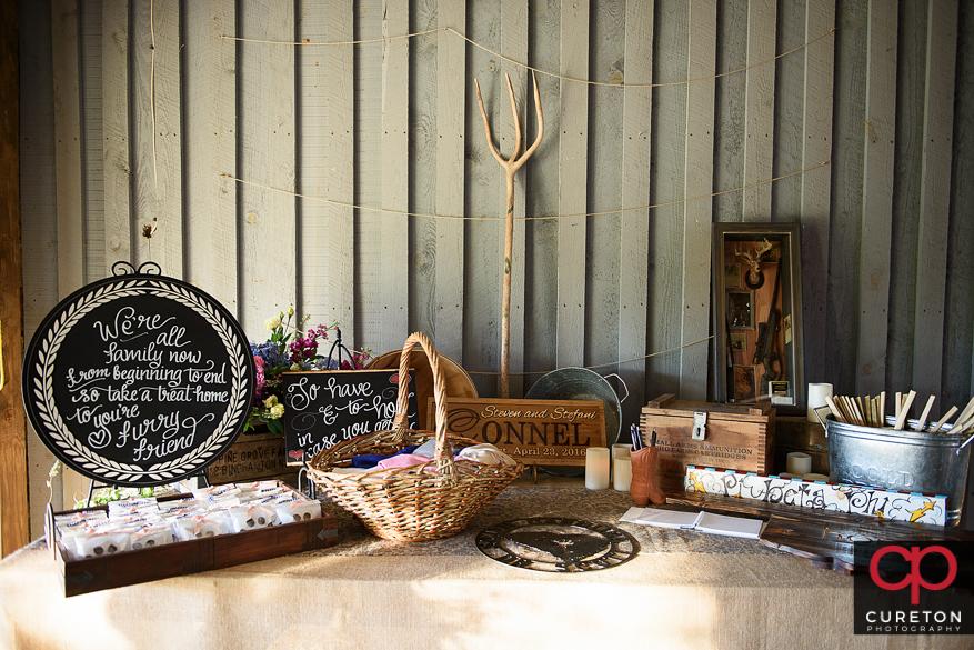 Vintage, rustic farm wedding decor.=ations.