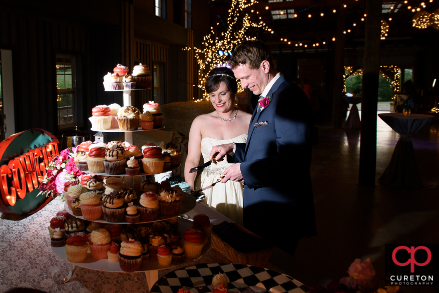 Bride and groom cutting their cake.