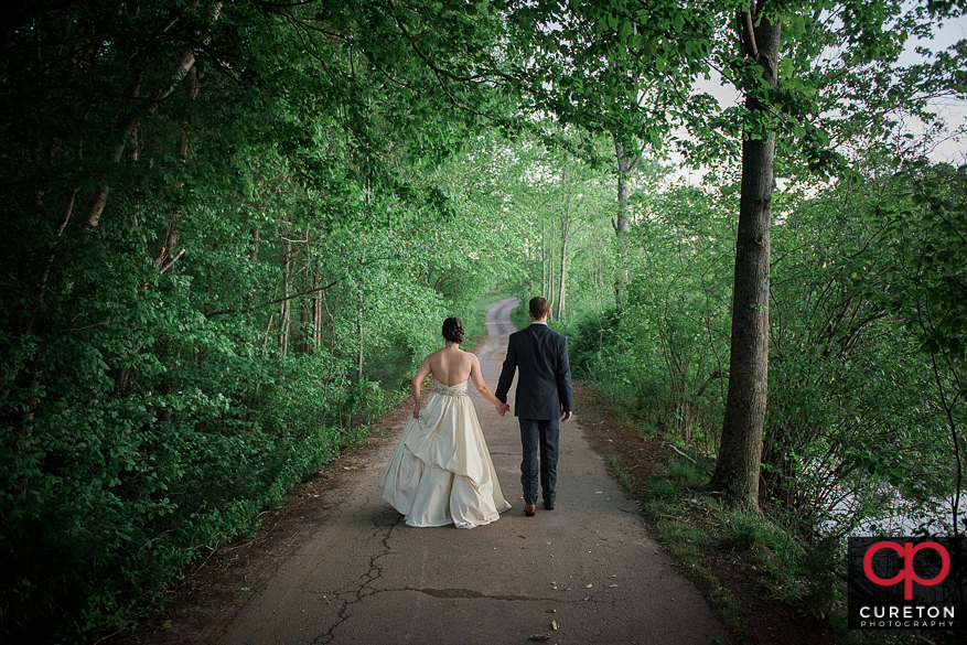 Bride and groom after the rustic wedding.