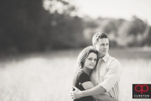 Black and White shot of a fture bride and groom.