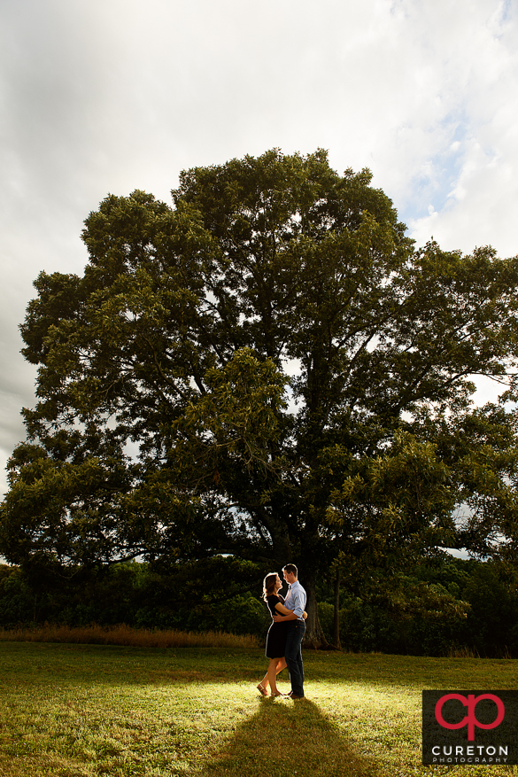 Couple backlit near the huge oak tree during a Greenbrier Farms Engagement Session.