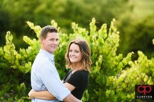 Engaged couple on the farm.