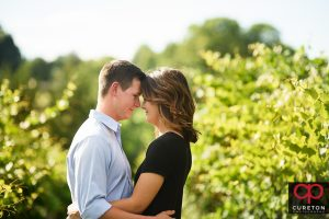 Couple staring into each others eyes in the middle of a grape vineyard.