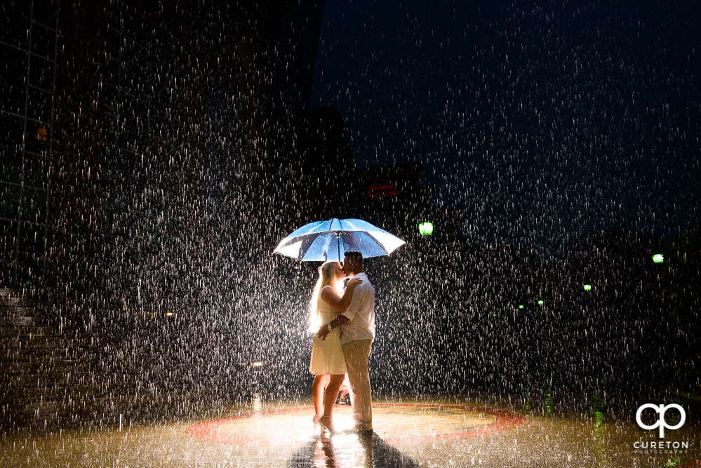 Greenville SC Engagement Session in the Rain – Dallas + Eric