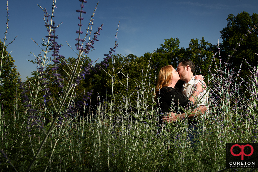 Engaged couple standing in a field.