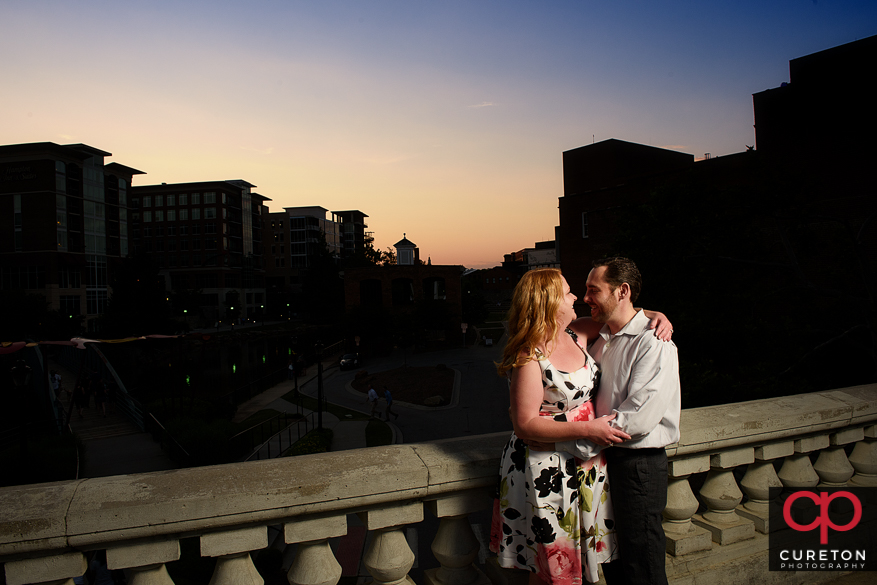Sunset engagement in downtown Greenville,SC.