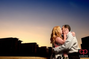 Greenville SC downtown engagement at sunset.