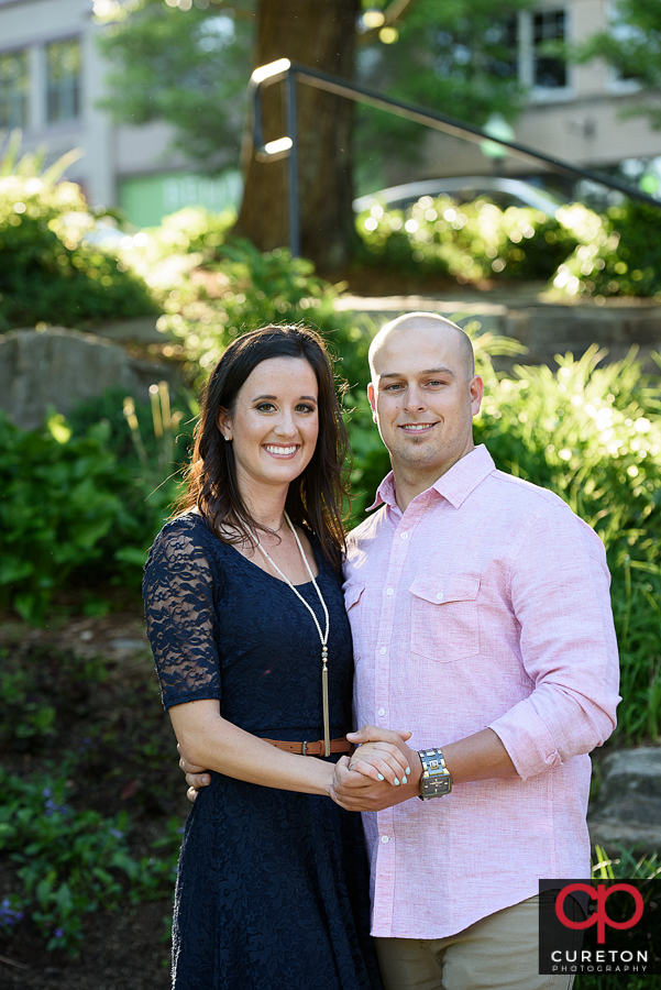 Engaged couple in downtown Greenville, SC.