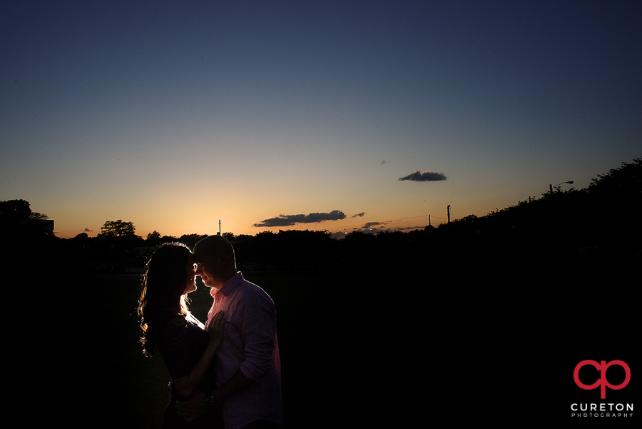 Sunset during a Greenville SC engagement session.