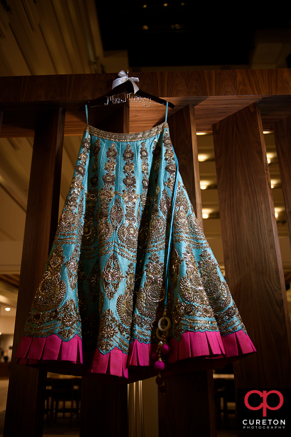 Indian bridal dress hanging in the hotel.