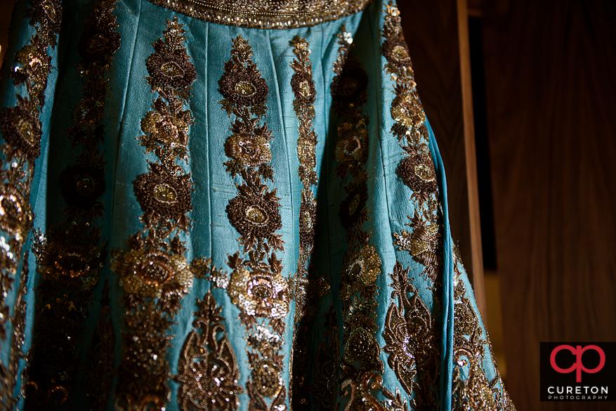 Closeup of an Indian wedding dress.