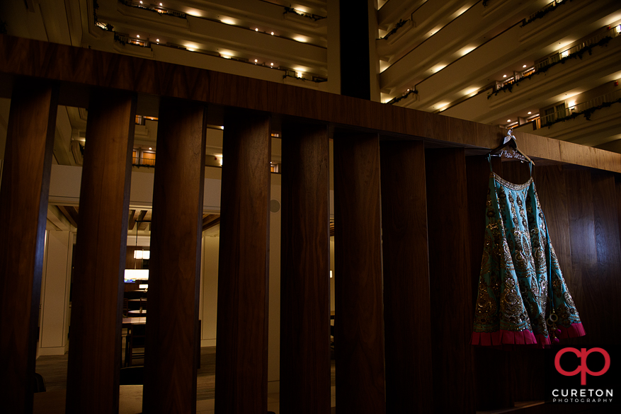 Indian wedding dress hanging in the Embassy suites in Greenville,SC.