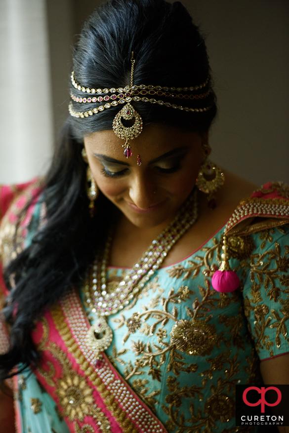 Beautiful Indian bride before her wedding.