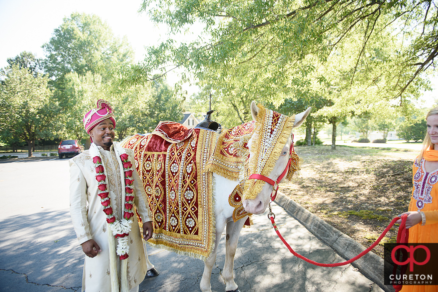The Indian groom and his horse before the Baarat.