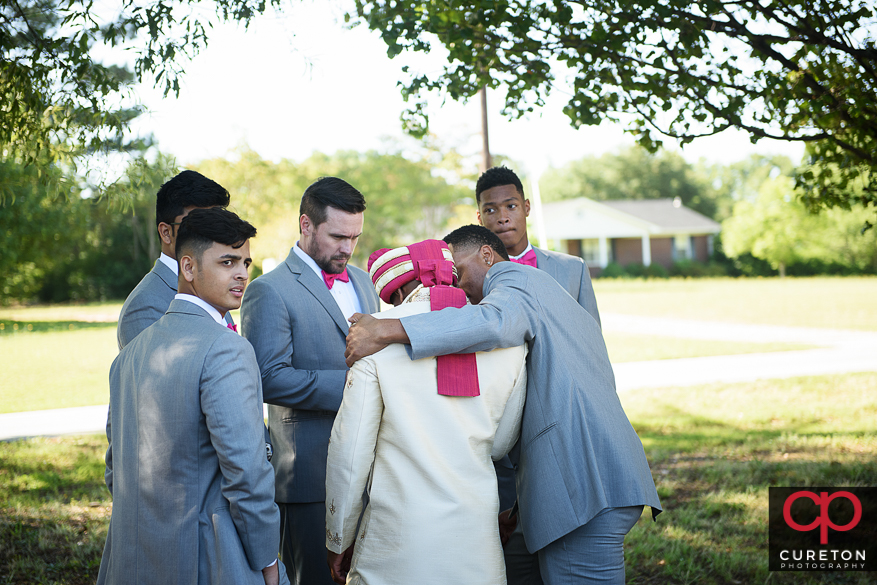 The groom gets emotional before the wedding.