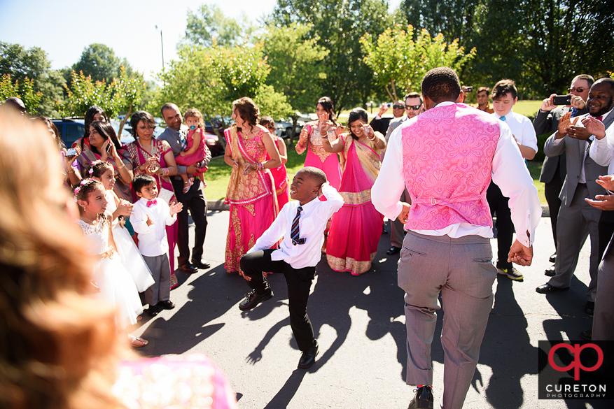 Dancing during the Baraat.