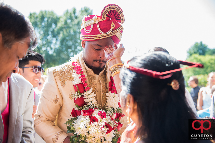 Bride and groom outside the Vedic Center in Mauldin,SC.