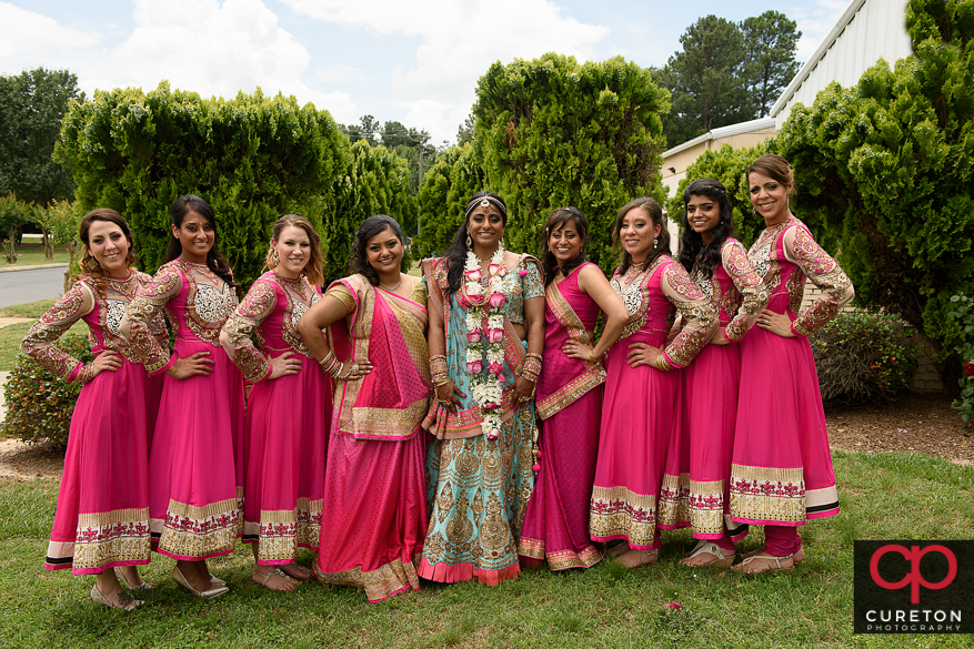 Bridesmaids after the Indian wedding in Greenville,SC.